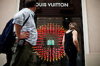 Window display at the Louis Vitton store, Avenue de Verdun, Nice, France, 28 April 2012
