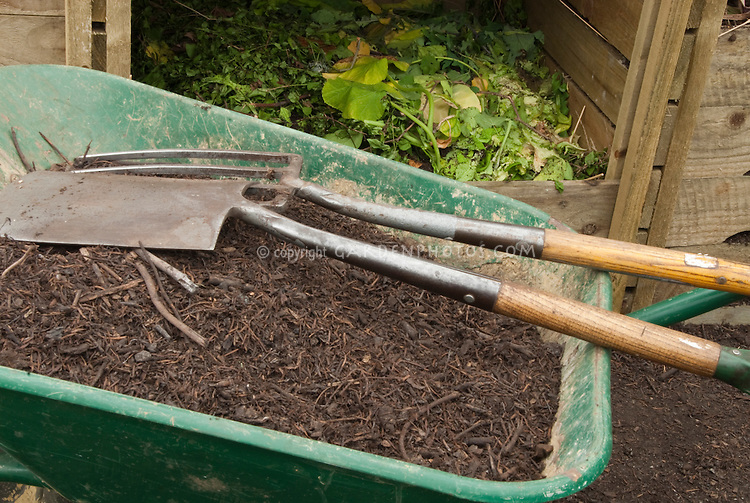 Composting with Compost bin, wheelbarrow, garden shovel and fork tools