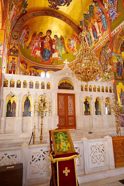 The Byzantine style frescos of the new Orthodox church of Omala. Kefalonia, Ionian Islands, Greece.