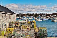 Lobster traps, Bernard, Mount Desert Island, Maine, ME, USA