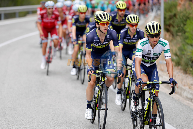 Esteban Chaves (COL), Adam and Simon Yates (GBR) Orica-Scott in action during Stage 7 of the 2017 La Vuelta, running 207km from Ll&iacute;ria-Cuenca, Spain. 25th August 2017.<br /> Picture: Unipublic/&copy;photogomezsport | Cyclefile<br /> <br /> <br /> All photos usage must carry mandatory copyright credit (&copy; Cyclefile | Unipublic/&copy;photogomezsport)