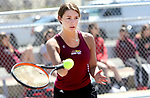 NAUGATUCK CT. 17 April 2019-041719SV06-Ava Longo of Sacred Heart returns a ball while playing against Sabrah Cegielski of Naugatuck High during tennis action in Naugatuck Wednesday.<br /> Steven Valenti Republican-American