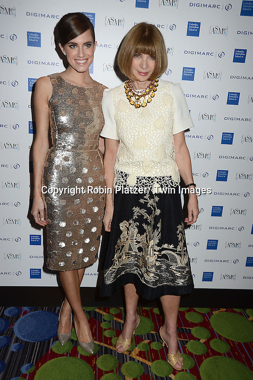 Allison Williams and Anna Wintour getting an award for Vogue in the General Excellence in Service and Fashion at  the National Magazine Awards on May 2, 2013 at the Marriott Marquis Hotel in New York City.