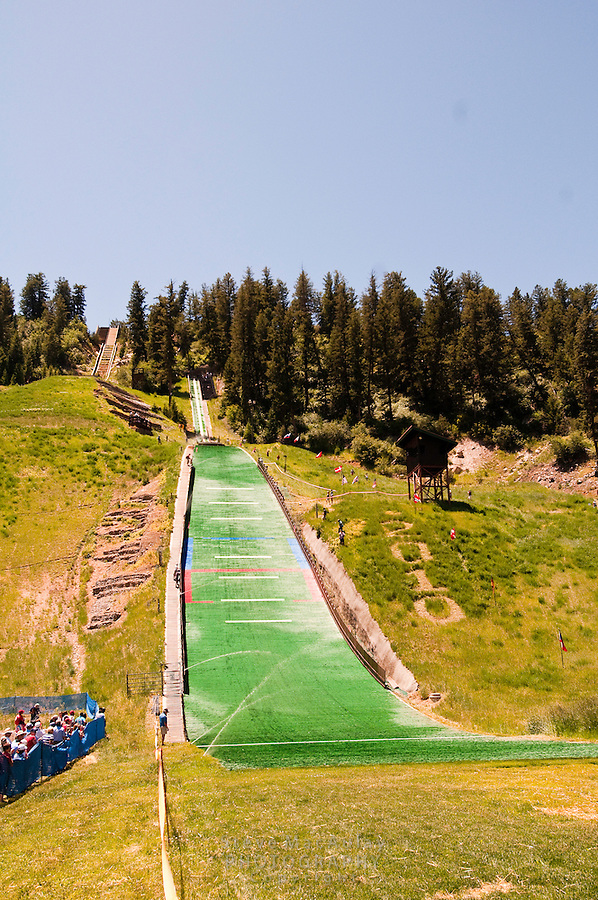 Summer nordic ski jumping competition on artificial surface at Howelsen Hill, Steamboat Springs, Colorado
