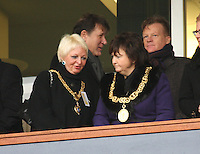 Renfrewshire Provost Anne Hall and Glasgow Lord Provost Sadie Docherty (right) chat before the St Mirren v Celtic Scottish Communities League Cup Semi Final match played at Hampden Park, Glasgow on 27.1.13.