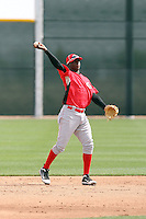 Mariekson Gregorius #60 of the Cincinnati Reds plays in a minor league spring training game against the Arizona Diamondbacks at Salt River Fields on March 15, 2011 in Scottsdale, Arizona. .Photo by:  Bill Mitchell/Four Seam Images.