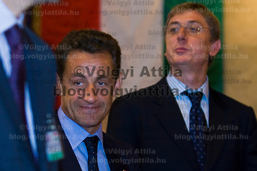 French president Nicolas Sarkozy (L) meets Hungarian prime minister Ferenc Gyurcsany (R) during his official visit to Hungary. Budapest, Hungary. Friday, 14. September 2007. ATTILA VOLGYI