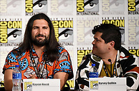 FX FEARLESS FORUM AT SAN DIEGO COMIC-CON© 2019: L-R: Cast Members Kayvan Novak and Harvey Guillén during the WHAT WE DO IN THE SHADOWS panel on Saturday, July 20 at SAN DIEGO COMIC-CON© 2019. CR: Frank Micelotta/FX/PictureGroup © 2019 FX Networks