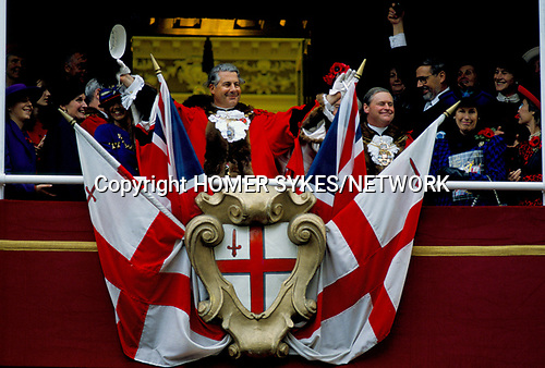 Sir Alexander Graham Lord Mayor of London UK , waves to the crowd at the Mansion House.   1990