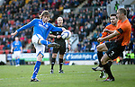 St Johnstone v Dundee United.....29.12.13   SPFL<br /> Murray Davidson fires over the bar<br /> Picture by Graeme Hart.<br /> Copyright Perthshire Picture Agency<br /> Tel: 01738 623350  Mobile: 07990 594431