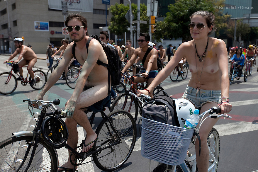 Naked cyclists participated in the 8th Annual Naked Bike Ride in Mexico City, Mexico on June 8, 2013. The International World Naked Bike Ride (WNBR) held annually in various cities around the world since 2004 to raise awareness of cycle safety, protest against oil dependency and draw attention to environmental issues as they encourage using of bicycles instead of cars. Photo by Benedicte Desrus