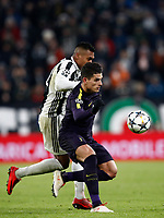 Football Soccer: UEFA Champions League Juventus vs Tottenahm Hotspurs FC Round of 16 1st leg, Allianz Stadium. Turin, Italy, February 13, 2018. <br /> Tottenham's Erik Lamela (r) in action with Juventus' Alex Sandro (l) during the Uefa Champions League football soccer match between Juventus and Tottenahm Hotspurs FC at Allianz Stadium in Turin, February 13, 2018.<br /> UPDATE IMAGES PRESS/Isabella Bonotto