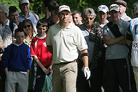 Padraig Harrington eyes his 2nd shot from the crowd on the 2nd hole during the first round of the 2008 Irish Open at Adare Manor Golf Resort, Adare,Co.Limerick, Ireland 15th May 2008 (Photo by Eoin Clarke/GOLFFILE)