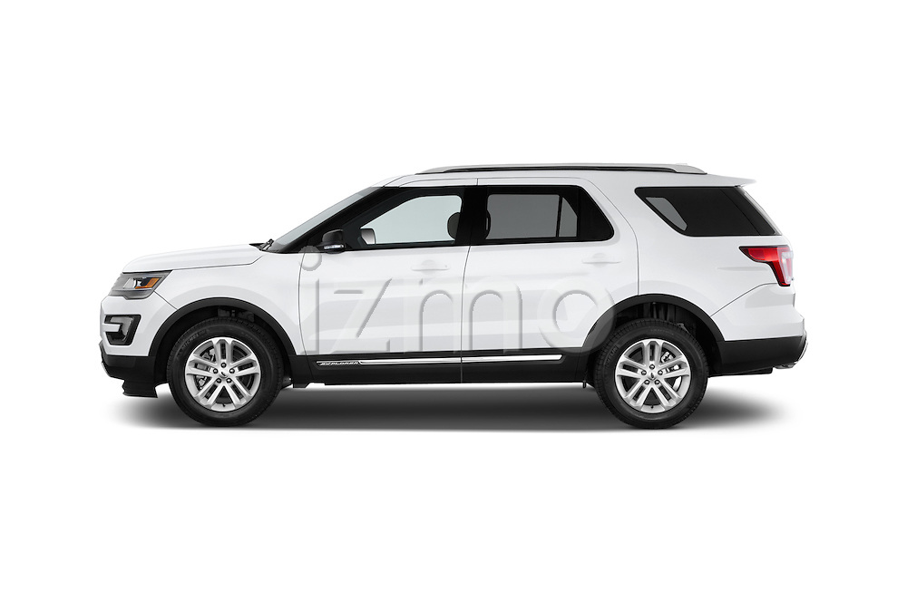 Car Driver side profile view of a 2016 Ford Explorer XLT 4 Door SUV Side View
