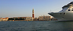 Cruise ship passing St Marks square, Campanile and palazzo Ducale. Venice, Italy.