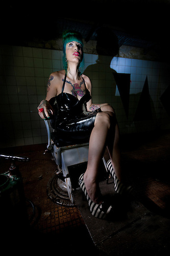 Models shot on location in an old abandoned hospital.