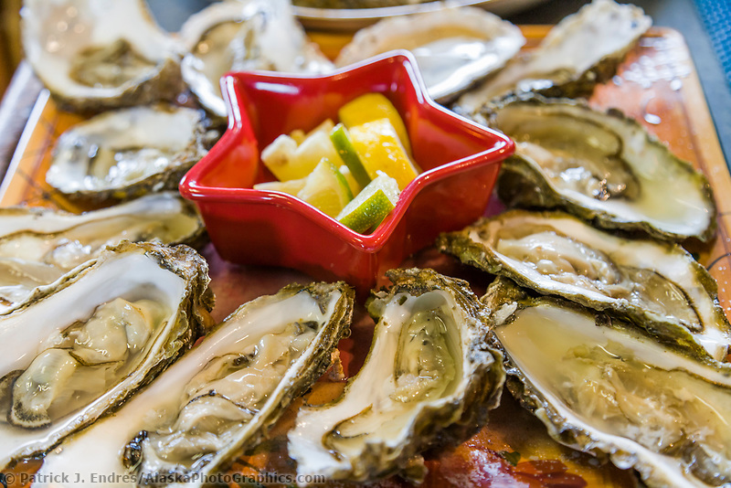 Oysters grown by Pristine Products in Alaska's cool water of Prince William Sound, Alaska.