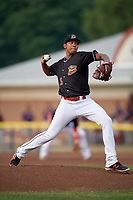 Batavia Muckdogs starting pitcher Humberto Mejia (19) delivers a pitch during a game against the Lowell Spinners on July 16, 2018 at Dwyer Stadium in Batavia, New York.  Lowell defeated Batavia 4-3.  (Mike Janes/Four Seam Images)