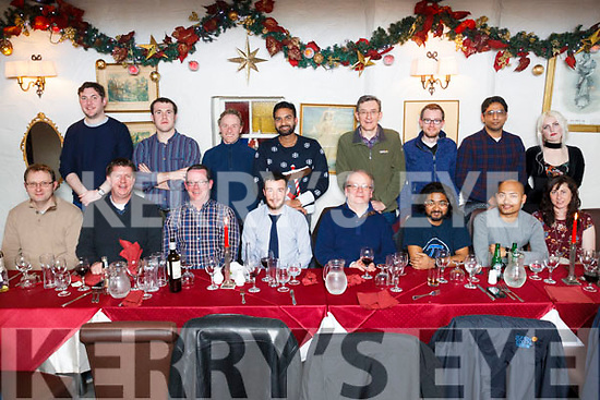 Imar Research IT Tralee enjoying their Christmass party in Cassidy's Restaurant on Thursday night last.<br /> Seated l-r, David Lennihan, Joe Walsh, Tom Fitzmaurice, Danny Riordan, Ciaran Doyle, Krifhnaban Duru, Sunal Maharjan, Evonne Keyes, Back l to r: David McMahon, Neil Beirne, Murt Moriarty, Sukumar Kadamraddy, Flannagan Noonan, Sean Campbell, Anshul Awasdhi and Michelle Hinlon.