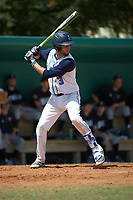 Lasell Lasers shortstop Hector Coscione (3) at bat during the first game of a doubleheader against the Edgewood Eagles on March 14, 2016 at Terry Park in Fort Myers, Florida.  Edgewood defeated Lasell 10-2.  (Mike Janes/Four Seam Images)