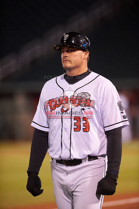 Lansing Lugnuts manager Dallas McPherson (33) during a Midwest League game against the Wisconsin Timber Rattlers at Cooley Law School Stadium on May 1, 2019 in Lansing, Michigan. Wisconsin defeated Lansing 2-1 in the second game of a doubleheader. (Zachary Lucy/Four Seam Images)