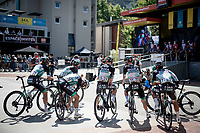 Team Bora-Hansgrohe awaiting their stage call at the race start in Vienne<br /> <br /> Stage 2: Vienne to Col de Porte (135km)<br /> 72st Critérium du Dauphiné 2020 (2.UWT)<br /> <br /> ©kramon