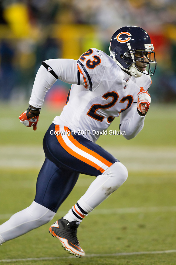 Chicago Bears wide receiver Devin Hester (23) runs downfield during a week 16 NFL football game against the Green Bay Packers on December 25, 2011 in Green Bay, Wisconsin. The Packers won 35-21. (AP Photo/David Stluka)