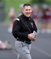 Middleton head coach, Tim Simon, smiles before the game Friday night, during Wisconsin Big Eight Conference high school football between Middleton and Verona on 8/24/18 at Verona High School