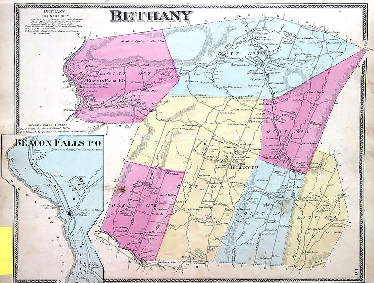 MIDDLEBURY, CT 06/10/08- 061008BZ06- A map  of Bethany, Connecticut<br /> from Michael Dooling's collection.<br /> <br /> Jamison C. Bazinet Republican-American