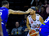 Nick Kay (left) marks EJ Singler during the national basketball league match between Cigna Wellington Saints and Hawkes Bay Hawks at TSB Bank Arena in Wellington, New Zealand on Friday, 12 April 2019. Photo: Dave Lintott / lintottphoto.co.nz