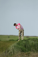Gary Collins (Rosslare) on the 17th tee during round 2 of The West of Ireland Amateur Open in Co. Sligo Golf Club on Saturday 19th April 2014.<br /> Picture:  Thos Caffrey / www.golffile.ie