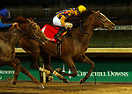 November 24, 2018 : Signalman (jockey Brian Hernandez Jr., #1) wins the 92nd running of the G2 Kentucky Jockey Club at Churchill Downs, Louisville, Kentucky. Owner Tommie M. Lewis, David A. Bernsen LLC (David A. Bernsen) and Magdalena Racing (Sherri McPeek, et al.), trainer Kenneth G. McPeek. By General Quarters x Trip South (Trippi.) Plus Que Parfait (jockey Julien Leparoux, #5) was second.  Mary M. Meek/ESW/CSM