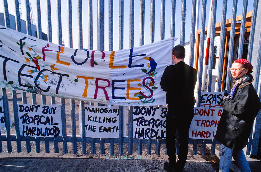 Earth First environmental protest against  the importation of tropical hardwoods from Malaysia at  the Liverpool docks .