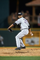 Lakeland Flying Tigers relief pitcher Johan Belisario (35) delivers a pitch during a game against the Bradenton Marauders on April 16, 2016 at McKechnie Field in Bradenton, Florida.  Lakeland defeated Bradenton 7-4.  (Mike Janes/Four Seam Images)