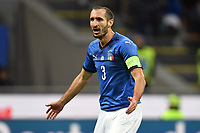 Giorgio Chiellini of Italy reacts during the Nations League League A group 3 football match between Italy and Portugal at stadio Giuseppe Meazza, Milano, November, 17, 2018 <br /> Foto Andrea Staccioli / Insidefoto