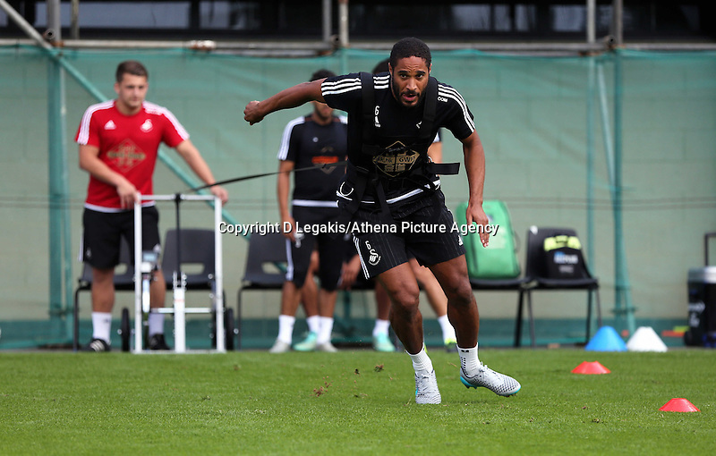 Thursday 09 July 2015<br /> Pictured: Ashley Williams on the Run Rocket<br /> Re: Swansea City FC pre-season training at Landore training ground, Swansea, south Wales, UK.