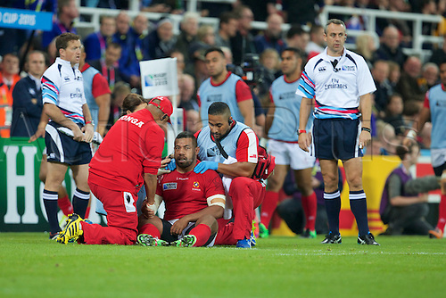 09.10.2015. St James Park, Newcastle, England. Rugby World Cup. New Zealand versus Tonga. Tonga hooker Elvis Taione receives medical treatment.