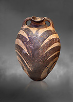Minoan Kamares Ware amphora  jug with polychrome  palm leaf decorations , Phaistos 1900-1700 BC; Heraklion Archaeological  Museum, grey background.<br /> <br /> This style of pottery is named afetr Kamares cave where this style of pottery was first found