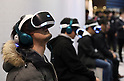 March 27, 2016, Tokyo, Japan - Visitors enjoy Japan's Sony Computer Entertainment's newly developed PlayStation VR which will go on sale in October at Anime Japan in Tokyo on Sunday, March 27, 2016. PlayStation VR uses a 5.7-inch OLED HMD and 3D audio headphones to offer a virtual reality videogame world to users. (Photo by Yoshio Tsunoda/AFLO) LWX -ytd-