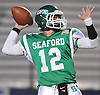 Andrew Cain #12, Seaford quarterback, throws a pass during the Nassau County varsity football Conference IV semifinals against Locust Valley at Hofstra University on Saturday, Nov. 12, 2016. Seaford won by a score of 28-14.