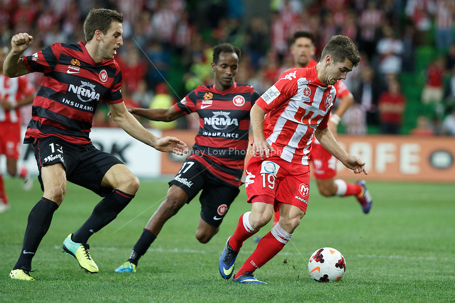 Benjamin GARUCCIO of the Heart controls the ball in the round 27 match between Melbourne Heart and  the Western Sydney Wanderers in the Australian Hyundai A-League 2013-24 season at AAMI Park, Melbourne, Australia. Photo Sydney Low/Zumapress<br /> <br /> This image is not for sale on this web site. Please visit zumapress.com for licensing
