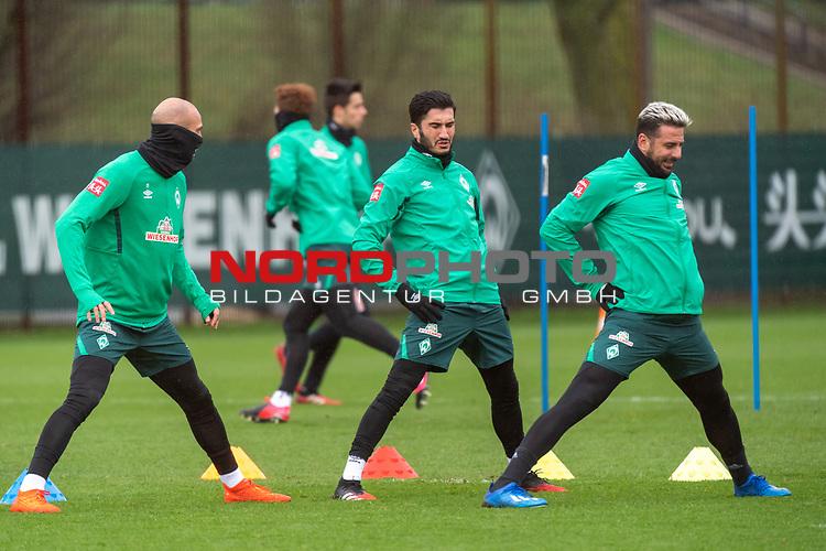 11.02.2020, Trainingsgelaende am wohninvest WESERSTADION,, Bremen, GER, 1.FBL, Werder Bremen Training, im Bild<br /> <br /> Ömer / Oemer Toprak (Werder Bremen #21)<br /> Nuri Sahin (Werder Bremen #17)<br /> wb14<br /> <br /> <br /> Foto © nordphoto / Kokenge