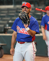 Phillies 3B Pedro Feliz on Thursday May 22nd at Minute Maid Park in Houston, Texas. Photo by Andrew Woolley / Four Seam Images..