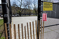 NEW YORK, NY - April 14: A red sign indicates the playgrounds are closed by Covic-19 at Mariana Hernandez Park on April 14, 2020 in Brooklyn, NY. The global number of deaths from COVID-19 has reached 122,000 and infected more than 1.9 million people. Experts believe the number may be greater. (Photo by Pablo Monsalve / VIEWpress via Getty Images)