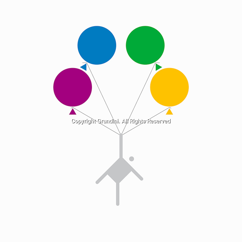 Man flying away on bunch of balloons ExclusiveImage ExclusiveArtist ExclusiveArtist