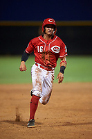 AZL Reds Sebastian Almonte (16) runs to third base during an Arizona League game against the AZL Athletics Green on July 21, 2019 at the Cincinnati Reds Spring Training Complex in Goodyear, Arizona. The AZL Reds defeated the AZL Athletics Green 8-6. (Zachary Lucy/Four Seam Images)