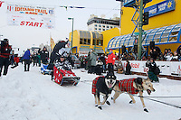 Saturday March 6 , 2010  Wattie McDonald of Scotland leaves the start line during the ceremonial start of the 2010 Iditarod in Anchorage , Alaska