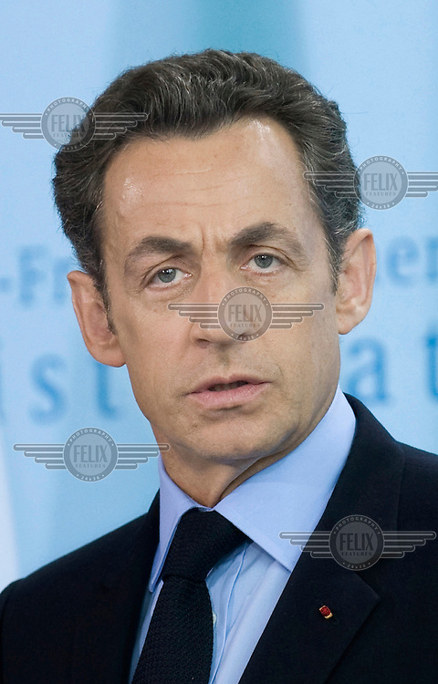 Nicolas Sarkozy, President of France, at the German-French meeting of the Council of Ministers at the Chancellery in Berlin.