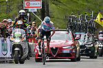Chris Froome (GBR) Team Sky wins Stage 19 of the 2018 Giro d'Italia, running 185km from Venaria Reale to Bardonecchia featuring the Cima Coppi of this Giro, the highest climb on the Colle delle Finestre with its gravel roads, before finishing on the final climb of the Jafferau, Italy. 25th May 2018.<br /> Picture: LaPresse/Marco Alpozzi | Cyclefile<br /> <br /> <br /> All photos usage must carry mandatory copyright credit (&copy; Cyclefile | LaPresse/Marco Alpozzi)