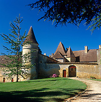 A curved driveway leads up to the chateau with its 13th century 'noble tower' and 15th century rustic doors